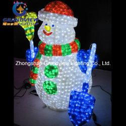 Рождество праздник снежную бабу с помощью щетки и короба под решеткой