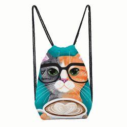 Lunettes de coton personnalisé de l'Artisanat Bijoux en mousseline Toy sachets emballage cadeau Sac avec lacet de serrage avec modèle d'impression