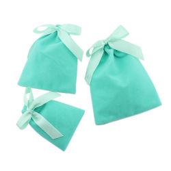 Moda Artesanal Prefume flocado Bolsa Bolsa de joyas de terciopelo cordón bolsa pequeña bolsa de regalo de joyas aceptar Logotipo personalizado