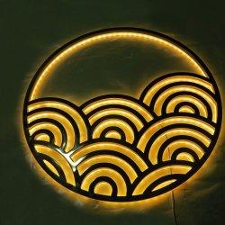 習慣は金金属のLEDによってバックライトを当てられる照らされたステンレス鋼のロゴを電気めっきする