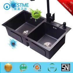 مطبخ صنع يدويا حوض الطلاء الأسود للاستخدام المنزلي BS - 347