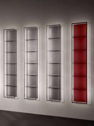 شاشة ألومنيوم تقيل عرض الكارتون الخاص بمحل بيع الذهب الأسود الأحمر مصباح LED للحامل، حامل زخرفي مخصص للبضائع الموضعية