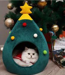 2020 최고 이제까지 크리스마스 판 크리스마스 나무 애완 동물은 고양이 작은 개 침대 굴 집 애완 동물 제품을 공급한다