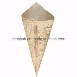 Biologisch afbreekbaar Composteerbaar Beschikbaar Vaatwerk 17*12*7cm Kegel van het Roomijs van het Blad van het Bamboe