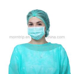 Il tipo diretto l'anti virus 3 batterici del Ce En14683 della fabbrica bianca della lista delle goccioline di 2r maneggia la maschera di protezione chirurgica a gettare pieghettata non tessuta di Earloop di procedura medica