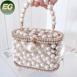 Eb1413 أنيقة مصنوعة يدويا اللؤلؤ حقيبة قابض مسائي الطرف الجرافة النساء معدن حجر الراين كوج بوروس