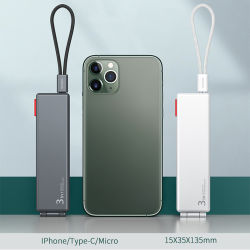 3 in 1 USB 케이블 Type C Micro 고속 충전 Lightning iPhone용 코드 나일론 와이어 마그네틱 박스 충전 라인 Huawei 삼성 Xiaomi