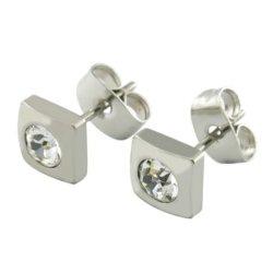White Crystal beauté goujon en acier inoxydable Hoop Mesdames Earrings