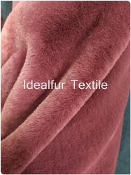 Haute qualité 100% polyester Tissu fausse fourrure de lapin en gros, à longs poils Fausse Fourrure solide pour enduire, des couvertures, une veste