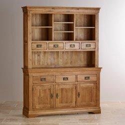 Vintage Chêne rustique en bois massif Grande commode avec tiroirs huche Armoire de stockage
