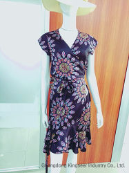 [هيغقوليتي] نمو سيّدة زهرة طباعة سائب بوليستر [رترو] كلاسيكيّة فصل صيف إمرأة لفاف مصمّم فصل صيف ثوب حراريّة