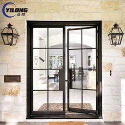 Современным дизайном с шарнирным соединением Custom-Made закаленное стекло салона стальные двери