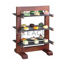 Sapele Felsen-Platten-Nachtisch-Imbiss-Kuchen-Ausstellungsstand