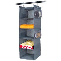 5 полки висящих шкаф данные органайзера, экранная заставка, ткань висящих полки с (4) боковых кармана, складная, (серые) подушки безопасности