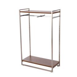 Tienda de ropa de estante de la pantalla de estanterías de madera y metal