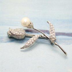 فضة مجوهرات تكعيبيّ زركونيوم [روس] دبوس الزينة مع لؤلؤة نهريّة لأنّ حزب/عرس