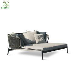 最新のデザインAppleの形の柳細工の寝台兼用の長椅子の屋外の日曜日のベッドのテラスの庭の藤の寝台兼用の長椅子