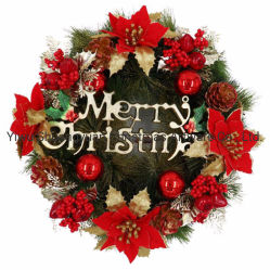 De groene Vrolijke Decoratie van het Huis van het Huwelijk van de Decoratie van de Kroon van de Gift van Kerstmis van pre-Lit van de Kroon van Kerstmis