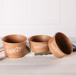La cuvette de papier Kraft biodégradable soupe de nouilles instantanées bols avec couvercles