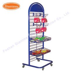 Épicerie pendaison Wier Mesh magasin Rack d'affichage des étagères en métal avec les crochets et de paniers