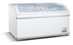 구부려진 유리제 문 아이스크림 전시 진열장 냉장고를 미끄러지는 전기 감기