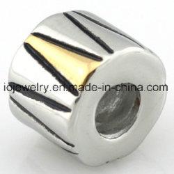 El agujero de 4,5 mm Cordón de la placa de oro con perlas de cilindro personalizado