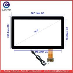 Écran panoramique 15,6 pouces écran tactile capacitif de bord pour Écran tactile TFT LCD (16 : 9, G+G, USB, Multi-touch)