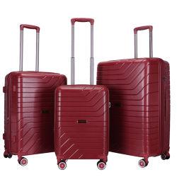 100% pp che abbina i bagagli stabiliti del carrello di corsa di colore 3-Piece con la serratura incastonata di Tsa