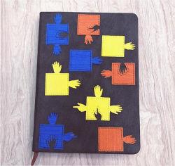 Capa dura de PU Cor Notebook mosaicos de superfície de couro cor Manual Alterar Cor do Notebook de couro página interna de notas