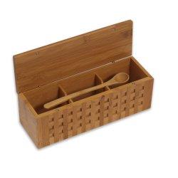 Cantina di legno del contenitore/spezia di sale della paletta triplice di bambù con il cucchiaio Bb-7403