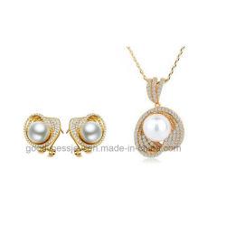 Мода украшения 925 серебристые или латунной украшения Pearl наборов ювелирных изделий кубический Циркон Earring и пульт управления для женщин