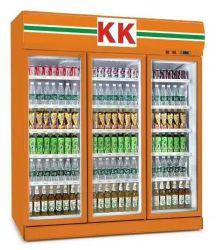 Супермаркет товаров стеклянные двери вентилятора системы охлаждения двигателя дисплей холодильник Охладитель для напитков
