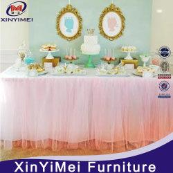 Commerce de gros mariage rose Table ébouriffé jupe plissée Tutu Jupe de table