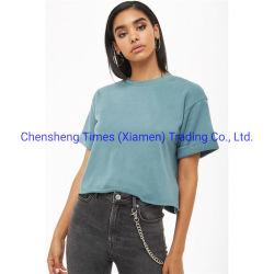 우연한 보통 공백 무거운 면 t-셔츠 여자 너무 크은 작물 최고 파랑 O 목 면 티