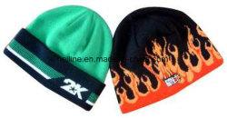 ジャカード編む袖口および炎のカスタムブランドデザイン帽子の帽子