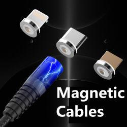 3 en 1 câbles de chargement magnétique de l'éclairage à LED Micro USB de type C pour iPhone
