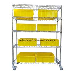 Modulare Handelsreihe-Stahlsortierfach-Zahnstangen-Speicher-System des lager-Metalldraht-Regal-Mobile-5
