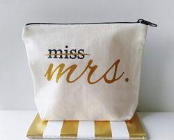 Logotipo personalizado Serigrafía Lienzo de la mujer multiuso bolsa de cosméticos bolsa con cremallera