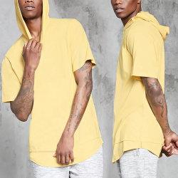Venda a quente homens Streetwear Curved Hem fendas laterais blusa de manga curta