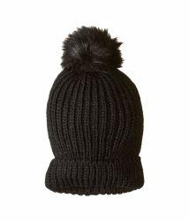 100% acrílico Hat invierno, las mujeres con intercambiables Faux-Fur POM con la moda tejer Beanie Hat