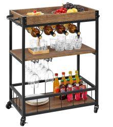 Bar Carrinho para Home Mobile Metal Vinho Madeira Cart sobre rodas com pega Rack, Suporte de vidro, 4 Hooker amovível, Caixa de madeira contentor rústico Industrial Carrinho de cozinha