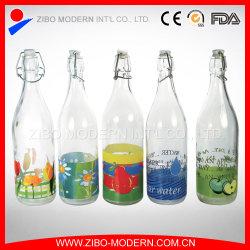 Barato al por mayor de refrescos de vidrio transparente de 1000ml botella de almacenamiento de leche