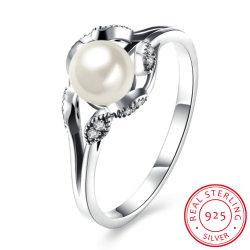 925 Sterling Silver Imitation Pearl Met Zircon Design Ring Fashion Jewelry