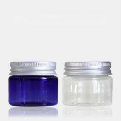 Esvazie 50g Pet jarra de cosméticos com tampa de alumínio para embalagem de cosméticos