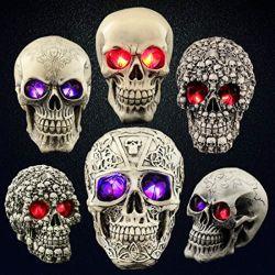 Halloween Polyresin popular de la cabeza el cráneo de regalo de luz LED de resina