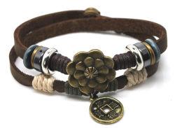 Men&Womenのための花の魅力の本革のブレスレットの宝石類が付いているブレスレット2013の2つの層の型の