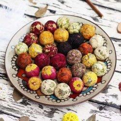 프리마당 유기농 다양한 맛 피어나는 다꽃, 중국 예술적인 꽃으로 가득한 녹차공 세트 - 천연 녹차잎