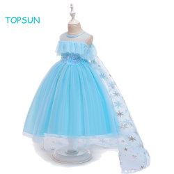 Kleine Baby-Ausstattungs-Kleidung scherzt blaues Prinzessin Abendkleid Elsa Kostüm