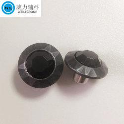 의복, 까만 구리에 있는 청바지 단추, 금속 압정 단추를 위한 끼워넣어진 돌을%s 가진 단추