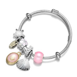 غلاف سحر سي شل فضية بانجل براسيليت - مجوهرات الموضة سناتانلس ستيل براسيليت للنساء EG13422